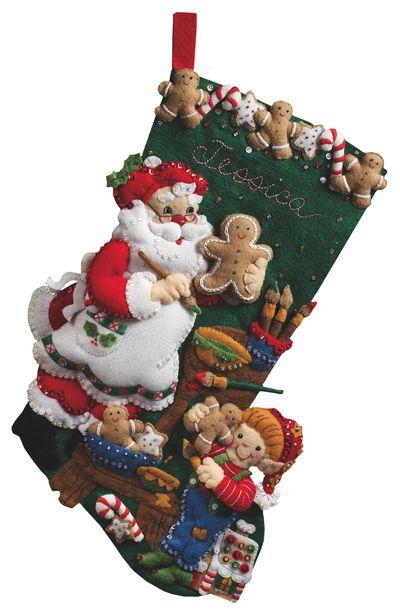 Christmas Cookies Bucilla Felt Applique Stocking