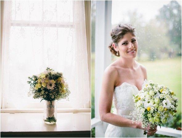 Yellow White Wedding Bouquet, wedding at The Glen Venue Linwood House, www.stephaniew.com