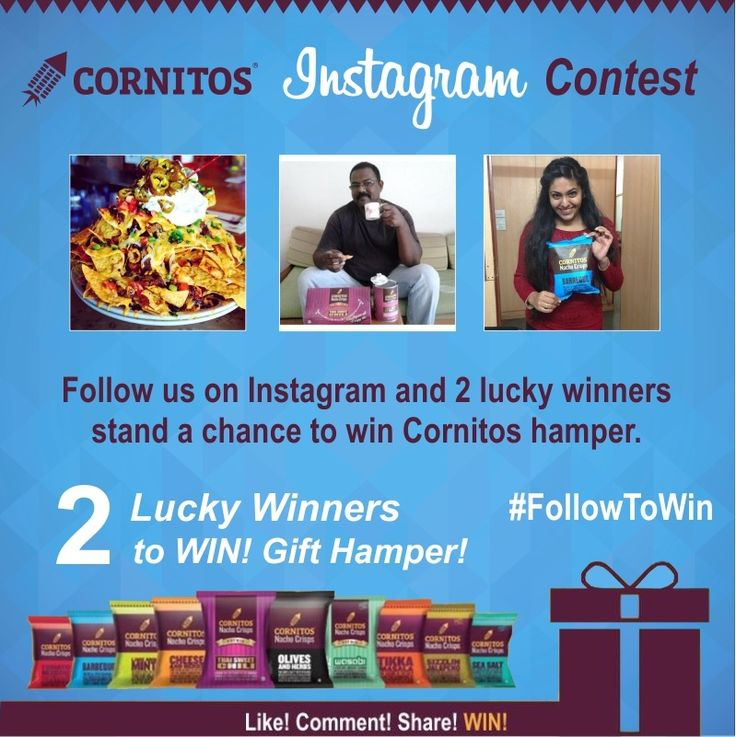 #‎FollowToWin‬ ‪#‎LoveForCornitos‬ Follow Cornitos on Instagram and 2 lucky winners stand a chance to WIN Cornitos hamper. https://instagram.com/cornitos/ FOLLOW.SHARE.and WIN