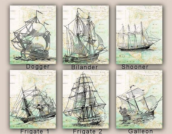 Sailboat Prints, Sail boat Collection, Set 4 prints 11x14, sailing map art, frigate, galleon nautical prints,  coastal decor, beach living on Etsy, $60.00