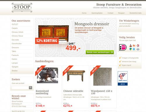 De Webshop vol met meubels. Een erg simpel ontwerp maar voor degene die specifiek op zoek zijn naar meubels is het design overzichtelijk en niet TOO MUTCH..