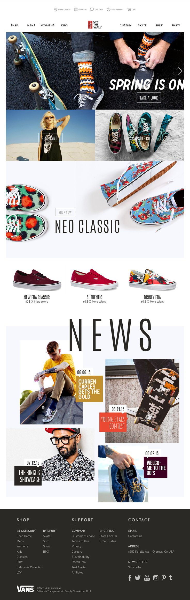 Vans spread a cool/trendy/hype image, but the website design doesn't match the brand image. I wear Vans everyday, and I feel it deserves a more design website. Here is a redesign concept.