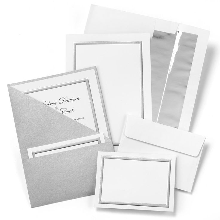 Silver Shimmer Folder Wedding Invitation Kit includes