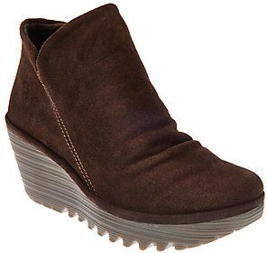 Fly London As Is Suede Ruched Ankle Boots - Yip