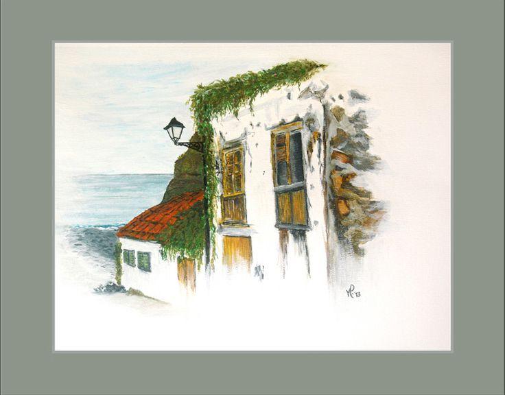 Aquarel schilderijen - Aquarel Huisje in Spanje - Een uniek product van Mirjam-Polman op DaWanda