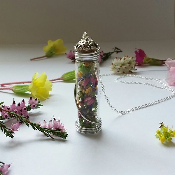 New wildflower glass vial necklace