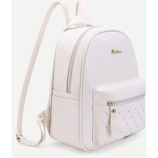 3607e97095e4 SheIn(sheinside) Studded PU Backpack With Mini Backpack Charm ( 23) ❤ liked  on Polyvore featuring bags