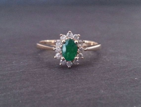Vintage Emerald Engagement Ring Emerald and Diamond by ArahJames