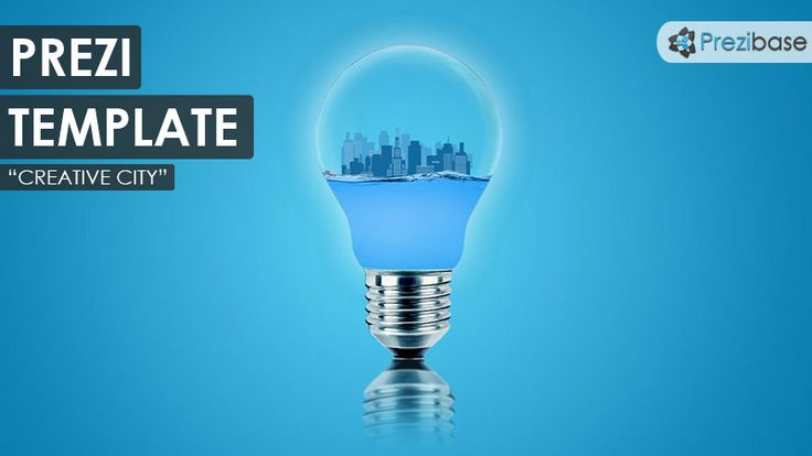 3D Prezi Template with a modern city inside a light bulb.  Illustrates a creative environment where ideas flow freely.  Zoom around the blue skyscrapers, use businessman silhouettes and add your content anywhere.  A good template for a creative Prezi related with ideas, innovation, motivation and creativity.