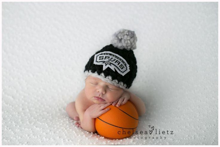 San Antonio Spurs, Go Spurs Go, spurs hat, Spurs baby, baby with basketball, NBA baby photos, San Antonio  photographer, Chelsea LIetz Photography