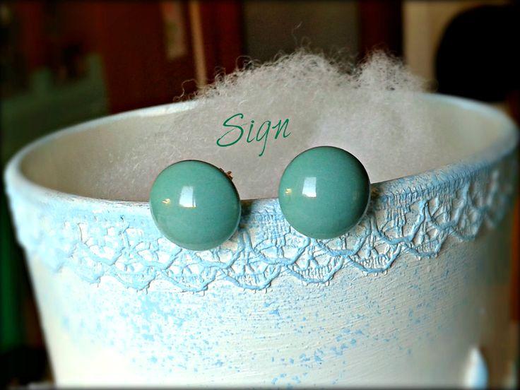 Orecchini a bottoncino Perle Cabochon Swarovski Jade Diametro 10mm