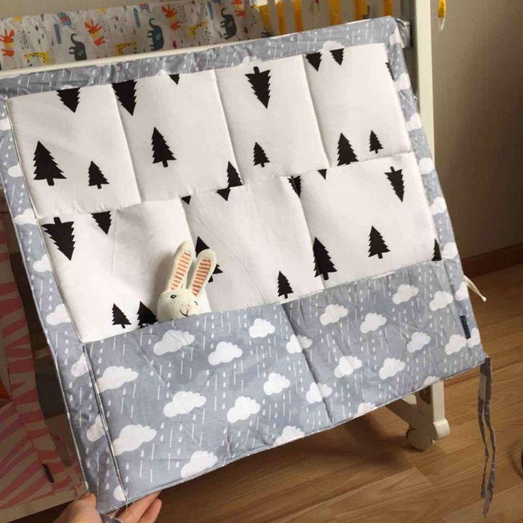 Free ship Muslin tree Baby Cot Bed Hanging Storage Bag Cotton Crib Organizer 60*55cm Toy Diaper Pocket for Crib Bedding Sets