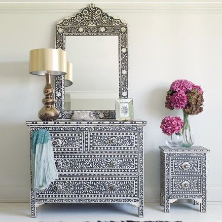 Luscious Hydrangeas And A Metallic Lamp To Simply Style Black U0026 Bone Inlay  Furniture, Love