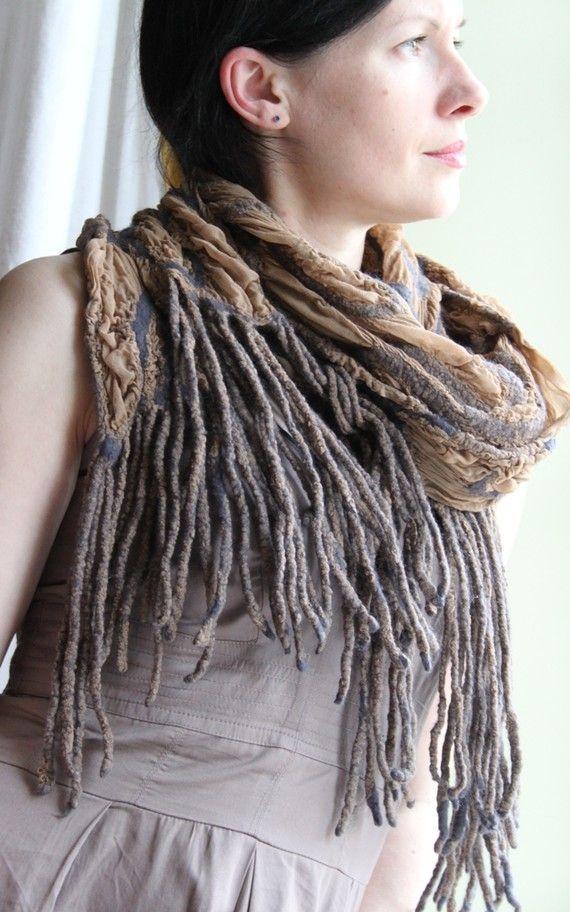Sand dream  Handmade nuno felted scarf with by AureliaFeltStudio
