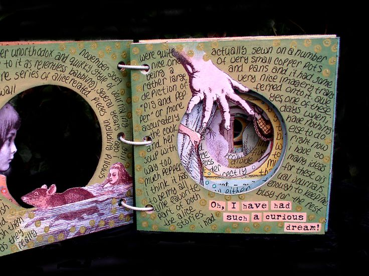Through the Rabbit-Hole Tunnel Book by Ingrid Dijkers - a view of one of the pages inside.
