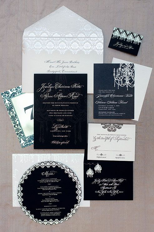 These invitations are made with classic fonts and colors and embellished with chic designs that allude to a formal affair.