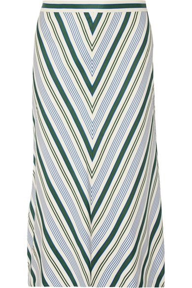Tory Burch - Villa Striped Satin-twill Midi Skirt - Off-white - US