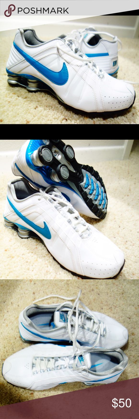 Brand new Nike Shox Junior women Sz7.5 white/teal Brand new, never worn Nike Shox Junior comfort running shoe - Women's Sz 7.5.  Great shoes, shox helps with running. Selling because I bought 2 pairs and lost the receipt. Nike Shoes Athletic Shoes