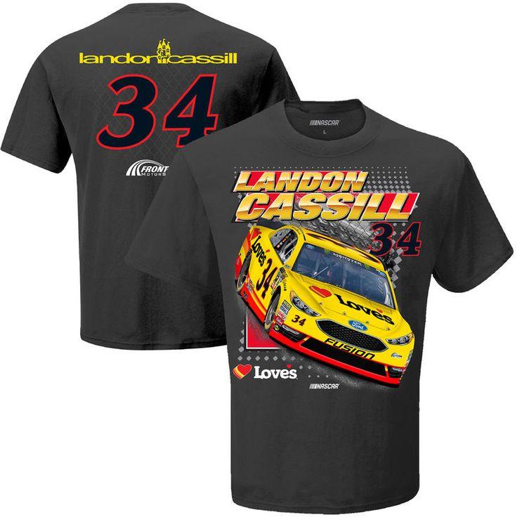 Landon Cassill Checkered Flag Spoiler T-Shirt - Charcoal