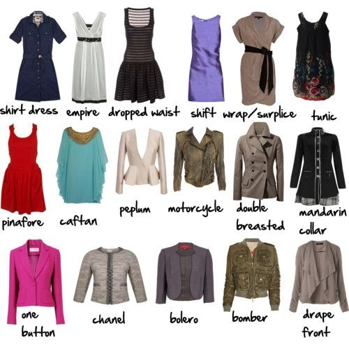 Dress and Jacket Types Via More Visual Glossaries:Backpacks / Bags / Hats /Belt knots / Coats /Collars /Darts / Dress Silhouettes /Hangers / Harem Pants /Heels /Nail shapes / Necklaces /Necklines / Puffy Sleeves /Shoes / Shorts /Silhouettes / Skirts /Tartans / Vintage Hats / Waistlines / Wool