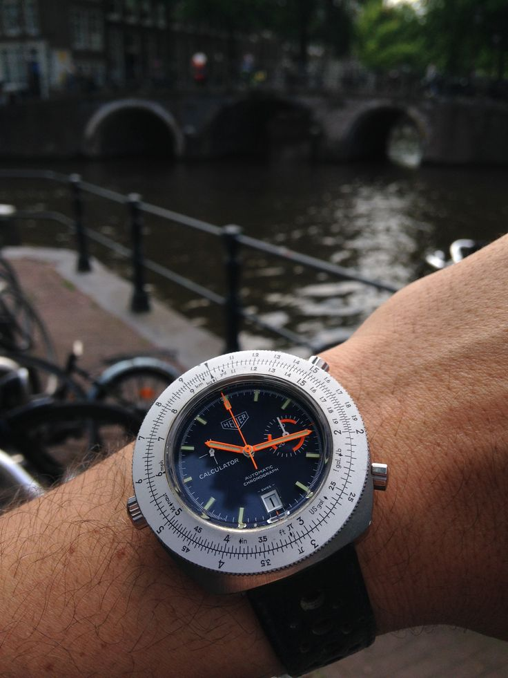 Heuer Calculator and a canal bridge..