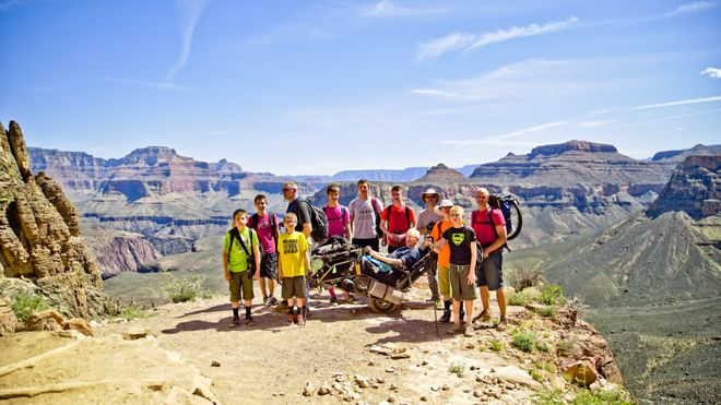 How far would you go to show your family how much you love them? What about trekking 17 miles...carrying them in a wheelchair? That's exactly what these 8 Headings grandkids did through the Grand Canyon for their paralysed grandfather.  http://www.suitcasesandstrollers.com/interviews/view/hiking-grand-canyon-with-kids-wheelchair?l=all #GoogleUs #suitcasesandstrollers #travel #travelwithkids #familytravel #familyholidays #familyvacations #traveltips #hiking #wheelchairs