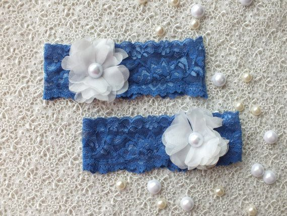 wedding garters, bridal garters, lace garters, bride, wedding accessory, blue  garters,ivory flowers,  garters, free ship