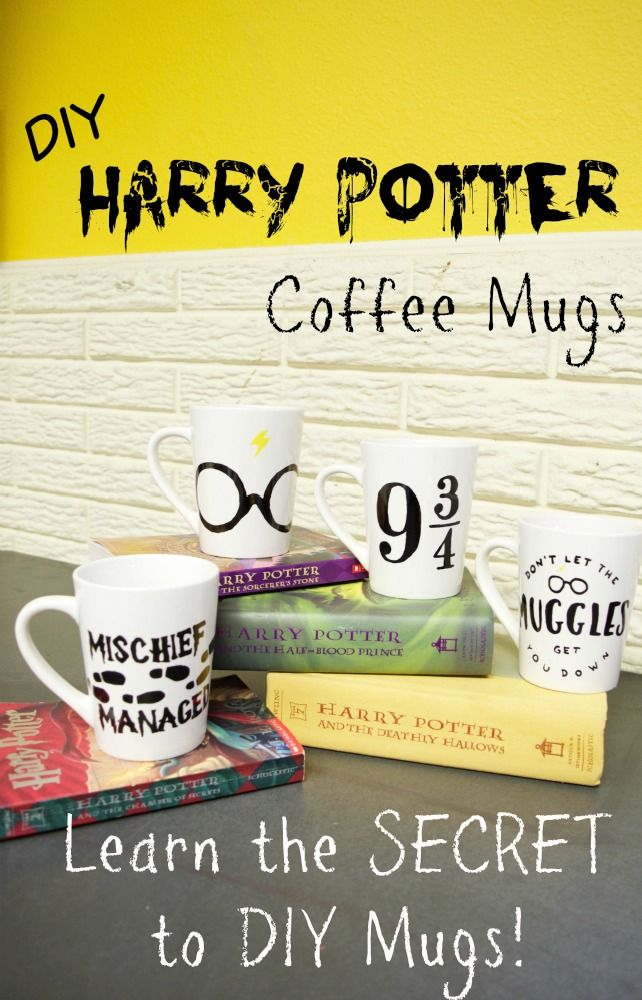 UNDER 15 minutes to make all of these DIY Harry Potter mugs! Set aside the Muggle and drink up! She shares her SECRET tip for making these without vinyl decals or expensive machines. I can't believe I didn't think of this before!
