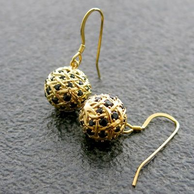 Weave Small Ball Earrings in Gold Vermeil with Black Spinel gemstones.