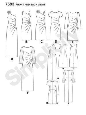 Schnittmuster: Cocktailkleid mit seitlicher Raffung - Kleider - Simplicity - burda style