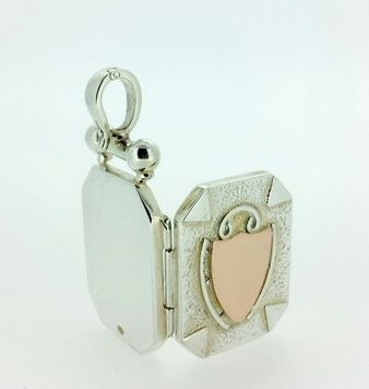 Locket - GUINEVERE - Sterling Silver and 9ct Gold, Enhancer Clasp