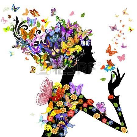 flores ni a de moda con mariposas Foto de archivo