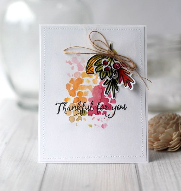 Thankful for You Watercolor Fall Card by Julia Stainton