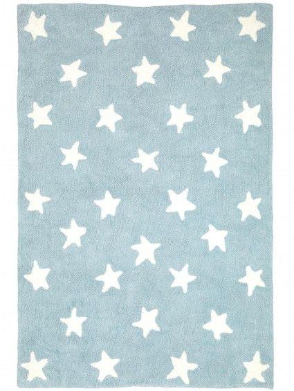 """Kuscheliger Kinderteppich Bambini """"Stars"""" in der Farbe Blau. Vergleichbar mit einer Tagesdecke!"""