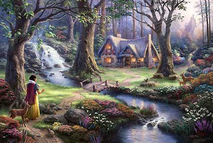 Snow White and the Seven Dwarfs - Snow White Discover's the Cottage - Thomas Kinkade - World-Wide-Art.com #Disney #Kinkade
