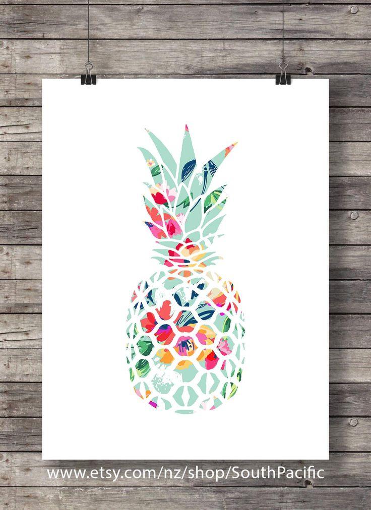 Stampa floreale ananas arredamento tropicale ananas Stampa