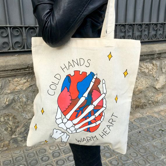 "Tote Bag ""Cold Hands, Warm Heart"" Bolsa Shopping Tattoo"