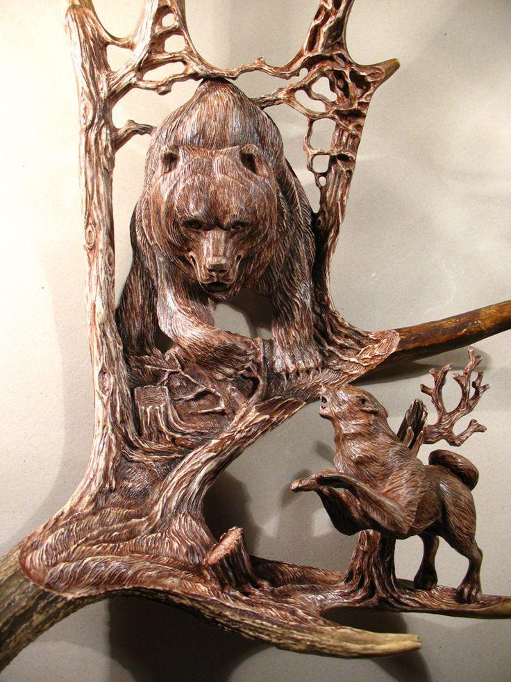 Moose antler carvings bears pinterest antlers