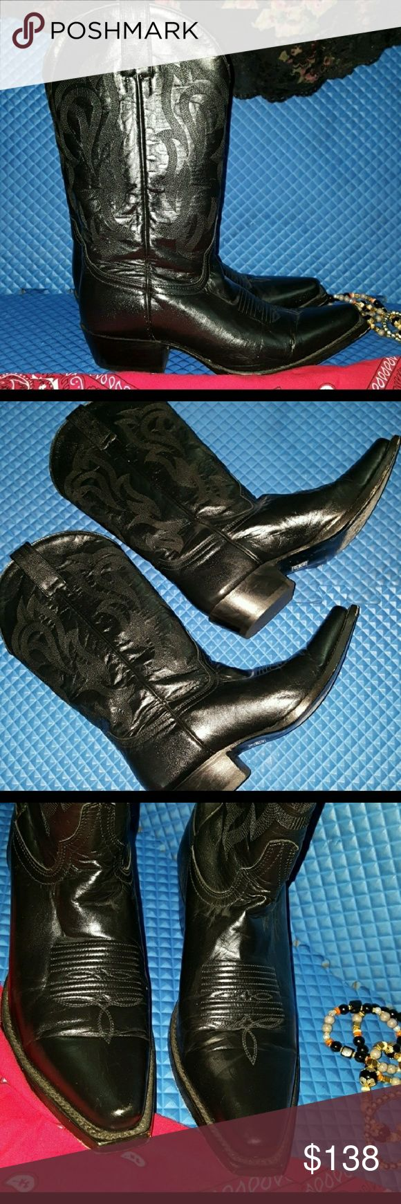 Ladies Black Leather Cowboy Boots size 7 Ladies leather boots Size 7 b Black color Very beautiful to go with a nice country style dress Gently used condition see pictures no major scuffs They run like a true 7 a little slender on calf. Beautiful embroidery design Real Leather, made in Mexico Paid over 250 for them and wore for 2 events  One a country style wedding and a western party Shoes Ankle Boots & Booties