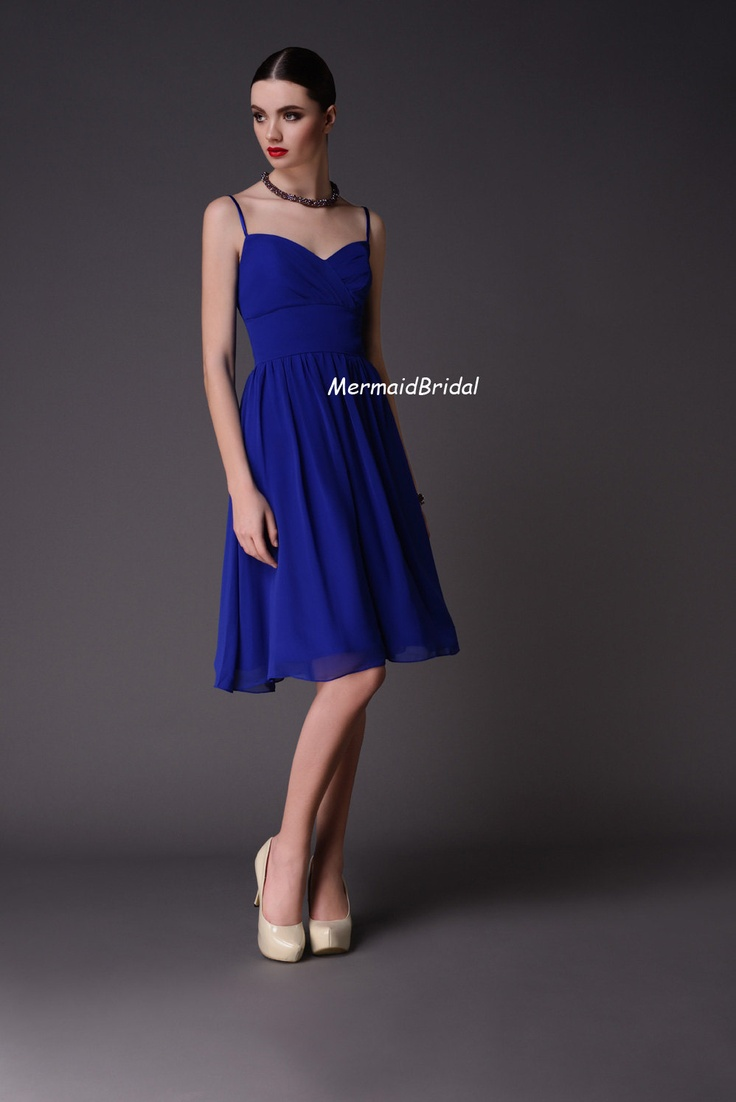 Royal blue dual straps short chiffon bridesmaid dresses for Royal blue short wedding dresses
