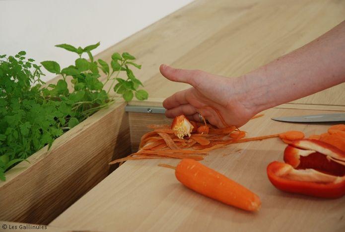 Le Lombric : Ce lombricomposteur s'intègre parfaitement dans la cuisine. Sa planche à découper permet à l'utilisateur d'éplucher ou couper toutes matières organiques. Une fois son action terminée, il n'a qu'à tirer sur la planche pour ouvrir le Lombric et y faire tomber ses déchets verts. Il possède une petite jardinière pouvant accueillir quelques pots de plantes aromatiques. Le Lombric se transforme ainsi en un mini-écosystème d'appartement.