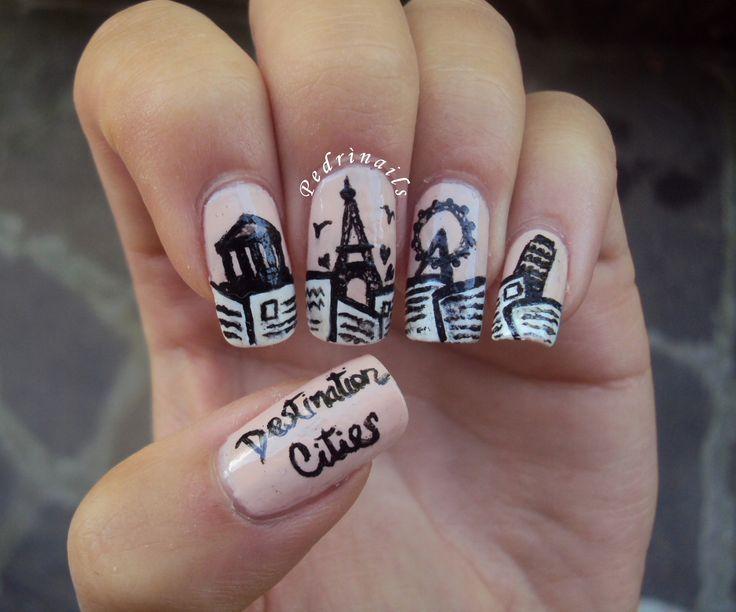 """La mia creazione a tema #DestinationCity per l' #EndlessSummerNailChallenge raffigura i monumenti simbolo delle mie città europee preferitevisitate durante le scorse stagioni estive mentre la Torre Pendente di Pisa rappresenta la mia città nonchè la destinazione finale del mio """"viaggio virtuale"""" sulle unghie. Ho dipinto le cartoline in modo da formare una sorta di bordered french manicure. Per saperne di più: http://pedrinails.blogspot.it/2014/09/4-endless-summer-nail-challenge.html"""