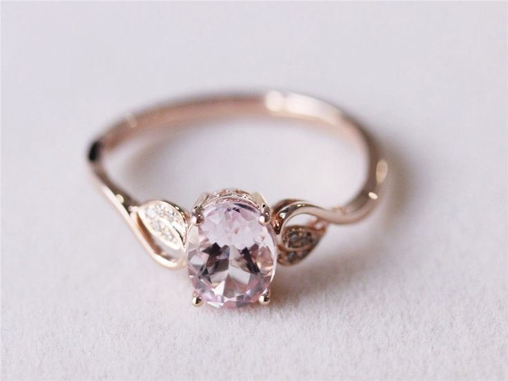 6x8mm Oval Morganite Ring Diamond Morganite Wedding Ring Engagement Ring 14K Rose Gold Ring Promise Ring by AbbyandWills on Etsy https://www.etsy.com/listing/193760770/6x8mm-oval-morganite-ring-diamond