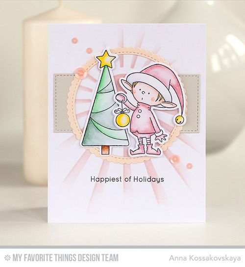 Handmade card from Anna Kossakovskaya featuring Stitched Circle Scallop Edge Frames #mftstamps