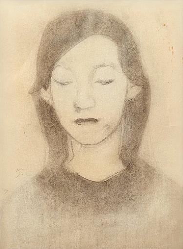 Artwork by Helene Schjerfbeck, HYVINKÄÄ GIRL, Made of drawing