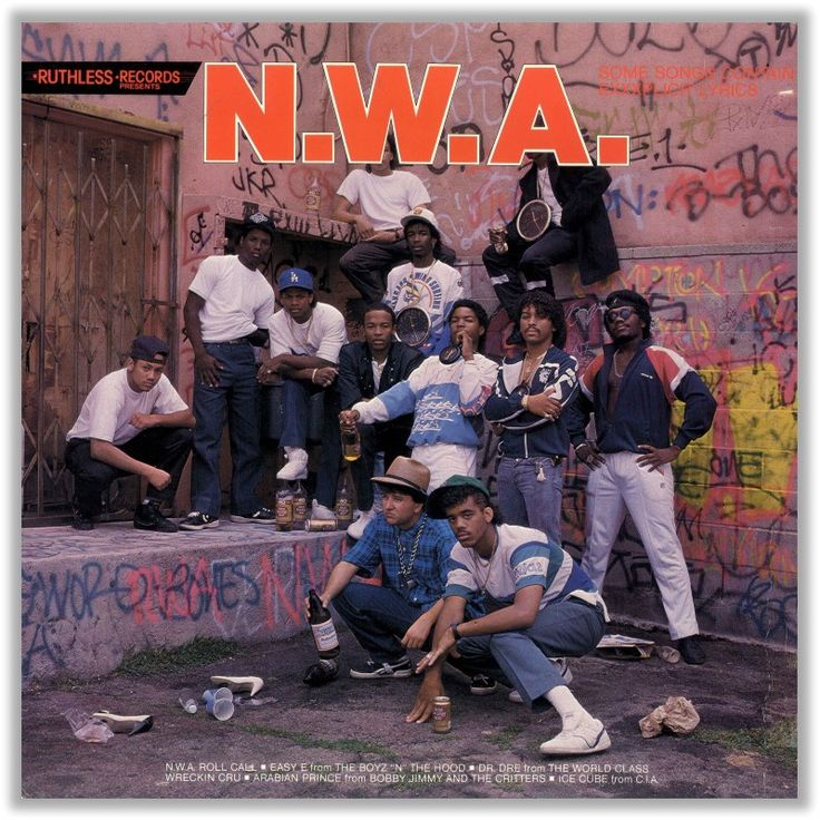 N.W.A. - Panic Zone - Ruthless / Macola - 1987 - Cover - Front with Dr. Dre, Yella, Arabian Prince and Eazy E
