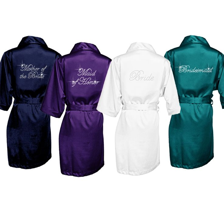 Our Bridal Party Satin Robe is adorned with sparkling, clear rhinestones in your choice of bridal party style: Bride, Bridesmaid, Maid of Honor, Matron of Honor, Mother of the Bride, Mother of the Groom, Junior Bridesmaid, or Flower Girl.