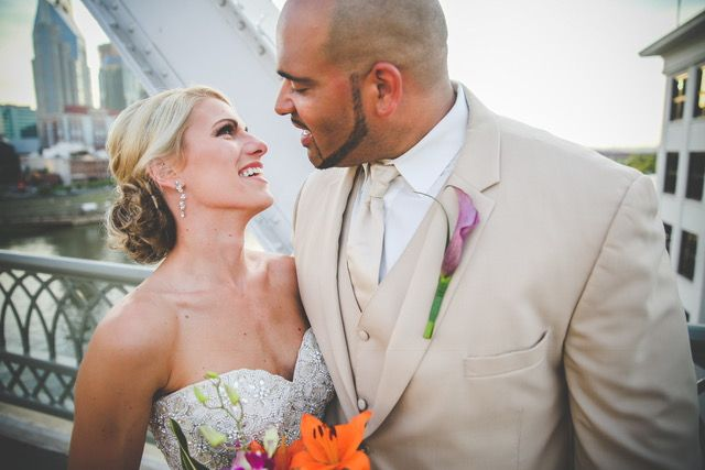 A bright, tropical-inspired wedding at The Bridge Building Event Spaces in Nashville, Tennessee | Southern Wedding | Tropical Wedding Theme | Exotic Florals | Bride | Groom | Event Planning Business | Event Planner