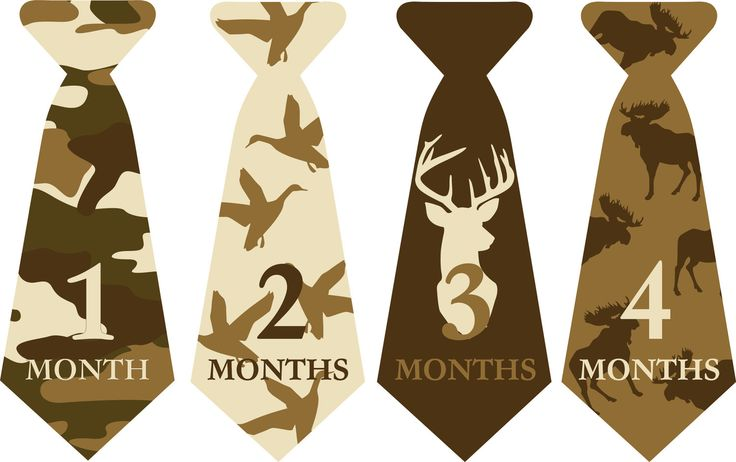 Monthly Onesie Sticker Ties//Neck Tie//baby boy///hunting tie///baby shower gift