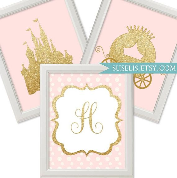 Set of 3 Personalized Monogram Princess Print Gold Pink Castle